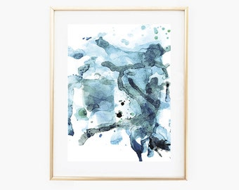 Abstract Watercolor Print, Blue Wall Art, Abstract Printable Art, Abstract Blue Art, Art Prints Download, Instant Download Art, Wall Art