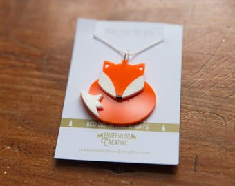 Little Fox / Wolf / Badger Acrylic Necklace and Earrings