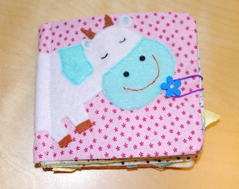 Cow Soft Book, Fabric Baby Book, busy book, Montessori Toy,  sensory toy, travel toy, educational toy, cloth book (from 6 months old )