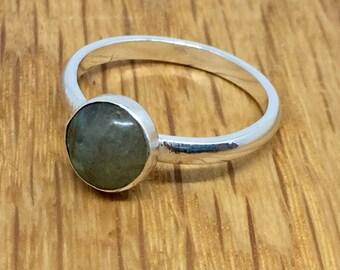 Labradorite stacking ring, stacking ring, Labradorite cabochon ring, Labradorite, sterling silver, Stacking ring, stacking ring, size 0