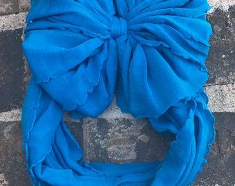Gum ball blue Ruffle Messy Bow Headband