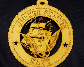 "4"" U.S. Navy wood ornament"