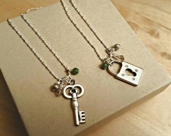 Friendship Lock and Key Necklace Set