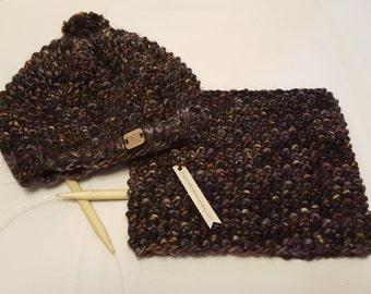 Hat and Cowl Set - Hand Knit - Free US Shipping - Ready to Ship