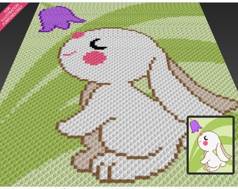 Spring Bunny crochet blanket pattern; c2c, cross stitch; knitting; graph; pdf download; no written counts or row-by-row instructions