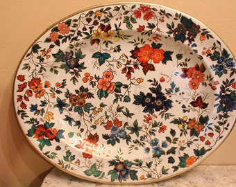 Bohemian Floral Tray- Flower Pattern on Metal- Daher of England