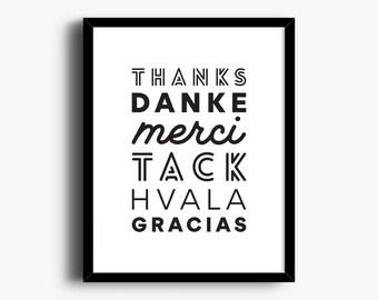 Thank You Language Print, Merci Poster, Thank You Sign, Language Wall Decor, Typography Print, Gracias, Type Art