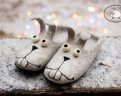 Womens slippers warm cozy gift, House Shoes Felted Wool slippers Felted slippers Bunny shoes Funny rabbit slippers grey wool slippers