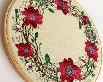 Large Burgundy Flower Wreath, Hand Embroidery Art, Wall Decor, Fibre Art