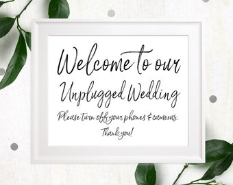 Unplugged Wedding Sign-Stylish Hand Lettered Please turn off your cell phone & camera sign-DIY Printable unplugged ceremony rustic sign