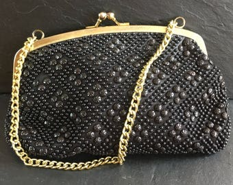 Vintage evening bag. Black beaded. Small