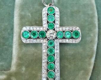 Art deco 2.25ct emerald and 1ct diamond 18ct 18k white gold cross vintage antique pendant necklace