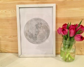 Silver Foiled Full Moon Print With Frame Included