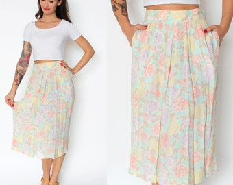Pastel Floral High Waisted Pleated Pencil Skirt XS/S