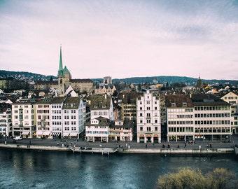 Zurich by the River, Switzerland, Europe, Travel Photography, Fine Art Print, Home Decor