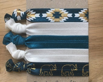 Metallic blue and white elastic hair ties