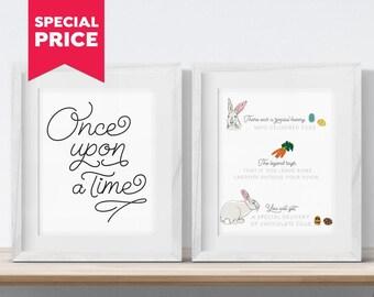 Easter Bunny Printable, Easter Bunny Story Set Print, Happy Easter Printable, Easter Wall Art, Rabbit Printable, Easter Decor, Easter Gift