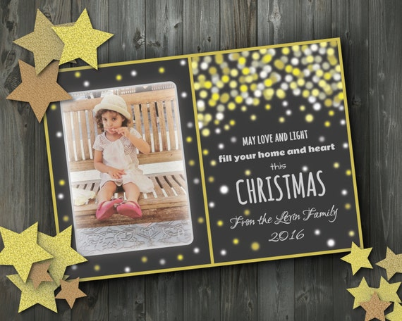 gold glittering merry christmas custom photo holiday cards, Greeting card