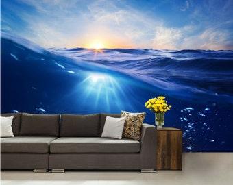 big wave wallpaper, ocean wave, sea wave wall decal, underwater wallpaper, self-adhesive, water wall mural, sun wallpaper, wave wall mural,