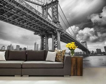 city WALL MURAL, black and white wall mural, New York bridge wallpaper, mural,  wall mural, wall decal, peel and stick,  bridge wall mural