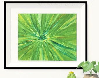 Green watercolor Floral Print, Original watercolor flowers, Abstract painting,original watercolor painting. Flower art, Dramatic close-up