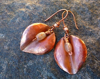 Fold formed earrings Petal jewelry Copper jewelry Hammered copper earrings Indian agate earrings Dangle copper earrings Leaf jewelry