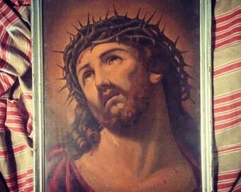 19th Chromo / Passion of Christ / religious subject / religious Art / decor / table / frame / Jesus / Religious