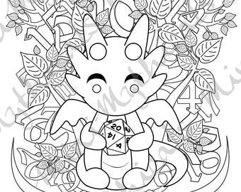 Kawaii Dice Dragon Adult Coloring Page Cute Mythical Creature RPG