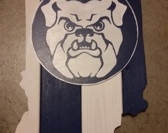 Butler University Indiana state wood cutout