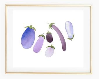 Eggplants - Watercolor Art Print