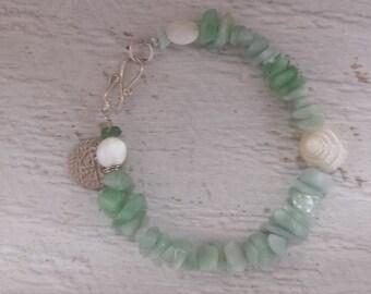 Mermaid green aventurine, trochus shell, mother of pearl & coin bracelet
