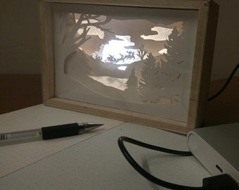 Papercut Night light, Christmas lightbox, Winter themed fairytale papercraft