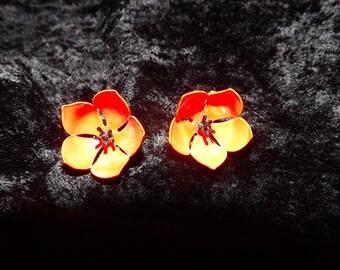 Vintage 1960's Orange Poppy Clip-On Earrings