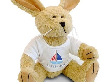 Rabbit soft toy with custom printed shirt - your text your design - perfect gift for all occasions!