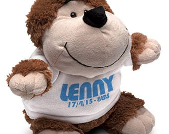 Monkey soft toy with custom printed shirt - your text your design - perfect gift for all occasions!