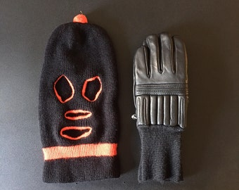 Vintage leather gloves and ski mask