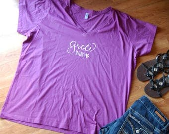 Grace Wins V Neck Tee Shirt, Plus Size, Christian, Inspirational, plus size t shirt, Grace Wins, Easter, Gifts for mom, Mothers Day