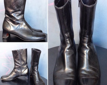 Black Leather Side Zip Ankle Boots - Retro 1960s - Cole Haan - Sz 6.5 women