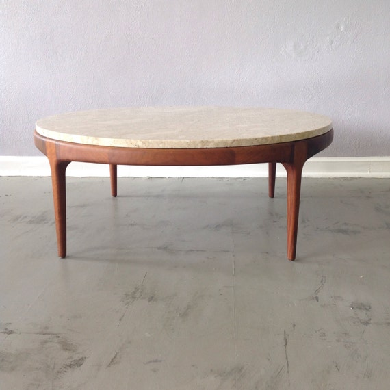 Etsy Round Coffee Tables: Walnut And Travertine Marble Coffee Table