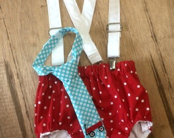 Little red wagon birthday cake smash outfit