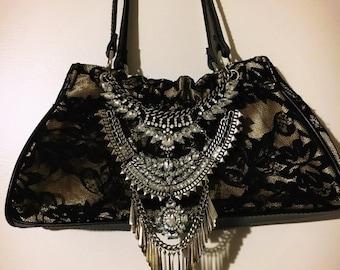 ON SALE Black Lace Rhinestone Embellished Evening Bag / Purse