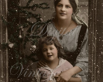 Mother and daughter watching the first snow. Digital download  -  Edwardian Vintage Postcard.