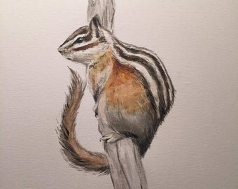 Chipmunk Watercolor Print