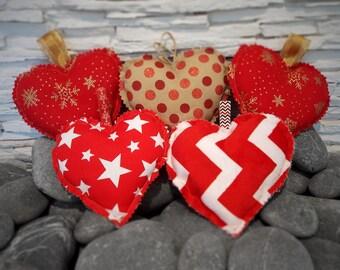 Red Hanging Individual Hearts