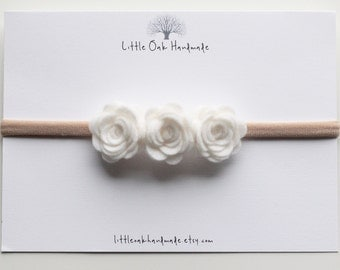 Crown Felt Flower Headband - White - Baby Headband - Flower Headband - Nylon Headband
