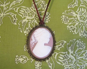 Cameo necklace, long necklace, lavender cameo, handmade jewelry, womans jewelry