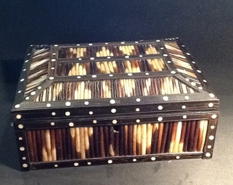 Antique Porcupine Quill Box dome top