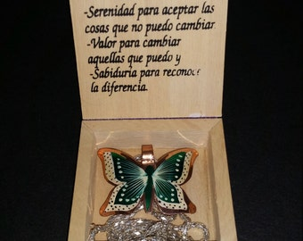 Necklace copper butterfly ..free shipp.