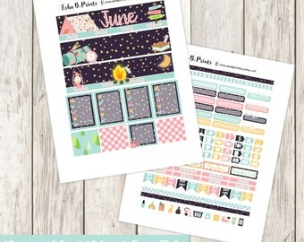 Great Outdoors Printable Planner Stickers/Weekly Kit/Erin Condren/Cutfiles Circut June Summer Camping Glam Fireside Marshmallow