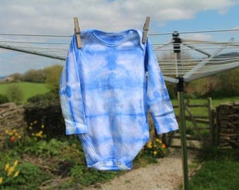 Blue Shibori Baby Vest - 6-9 Months - Tie-dye Baby Vest - Summer Baby Clothes - Colourful Baby Clothes